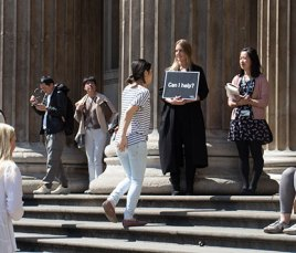 staff testing prototypes outside the British Museum